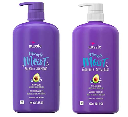Aussie Miracle Moist Shampoo And Conditioner Set | For Dry Hair Paraben Free With Avocado & Jojoba For Dry Hair | Each 30.4 fl oz (2 Bottles)