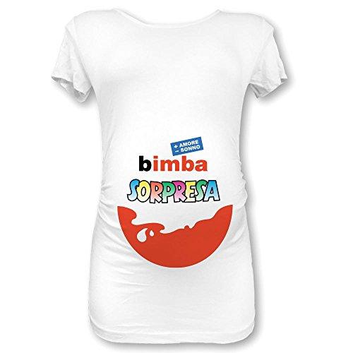 T Shirt Maglia Premaman Bimba Sorpresa (L Manica Corta, Bianca Femminuccia)