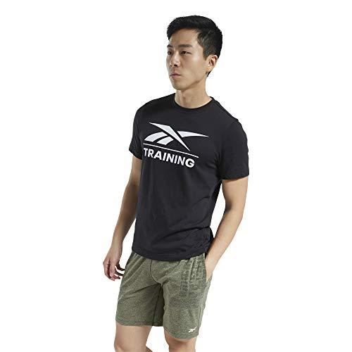 Reebok Training tee Camiseta, Hombre, Negro, XL