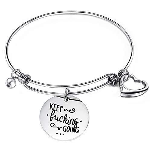Gleamart Keep Going Inspirational Adjustable Bracelet Friendship Bangle Gift for Women