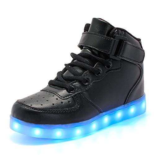 KCHKUI-UK Kinder LED Schuhe 7 Farbe Leuchtend USB Aufladen Laufschuhe High-top Sport Outdoorschuhe Licht Atmungsaktive Leichtathletikschuhe Hoch Gymnastik Trekking Walking Sneaker Jungen Mädchen