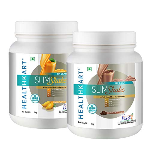HealthKart SlimShake Meal Replacement with 27 Essential Vitamins and Minerals for Weight Management (Chocolate+Mango-1Kg)