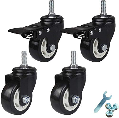 ZHEYANG Furniture Casters Heavy Duty Double Bearing Castor Polyurethane Moving Wheels,M12x30mm Threaded Stem Castors,Set Of 4 (Color : Brake+universal, Size : 75mm/3in)