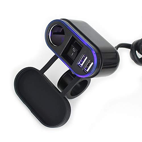 Shengjuanfeng Allume-Cigare Moto avec Guidon étanche Double Chargeur de Port USB avec Interrupteur LED (Color : Black)