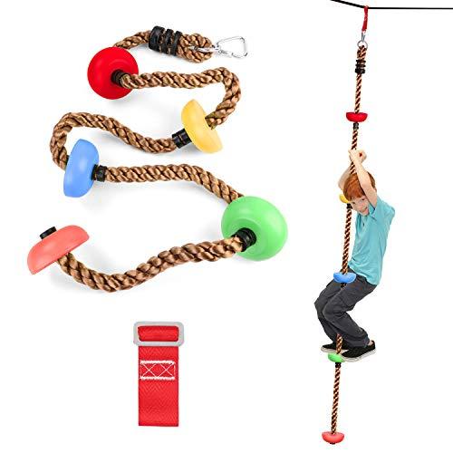 Odoland Ninja Net Ninja Line Starter Set Kletternetz Strickleiter für Kinder Slackline Set Slackline Kinder Slackline Anfänger Slackline Set