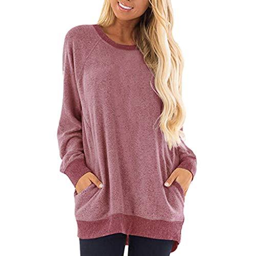 Zottom Damen Lange Ärmel,Frauen-beiläufige Farben-Block-Langarm-O-Ansatz Taschen T-Shirts...