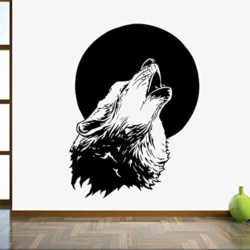 Etiqueta engomada de la pared del vinilo abstracto de la luna aullido cabeza del lobo autoadhesivo etiqueta de la pared decoración del hogar Mural A6 56x42cm