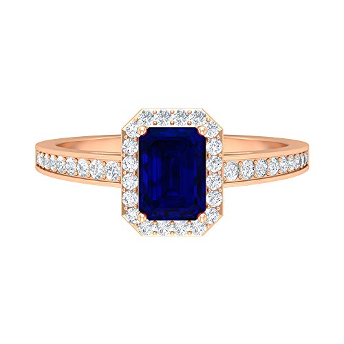Rosec Jewels 14 quilates oro rosa round-brilliant-shape Octagone H-I Blue Diamond Blue Sapphire