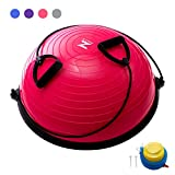 Z ZELUS Balance Ball Trainer Half Yoga Exercise Ball with Resistance Bands and...