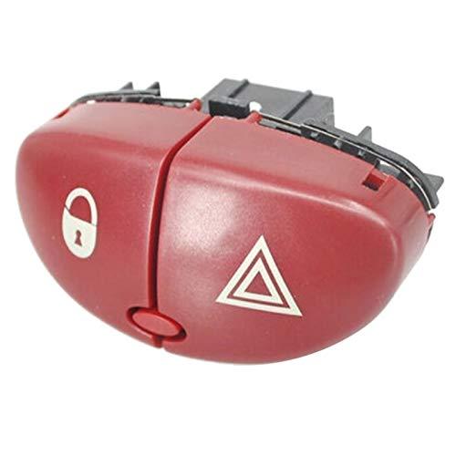 Interruptor de coche para 206 207 Cit-roen C2 6554L0 96403778JK Interruptor de advertencia de peligro Interruptor de luz peligrosa (Color: rojo)