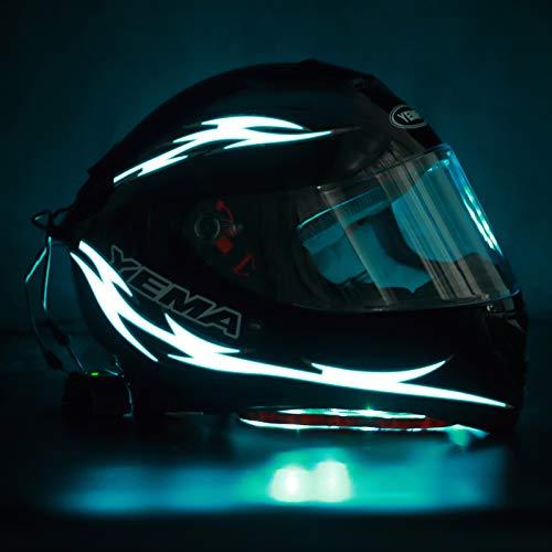 Unique Flame Shape 4PCS Rechargeable Motorcycle Helmet Light, Night Riding Signal Helmet EL Light, 3 Mode Led Helmet Light Strip Decoration Accessories Kit for Motorcycle, Bike Helmet (Ice Blue)