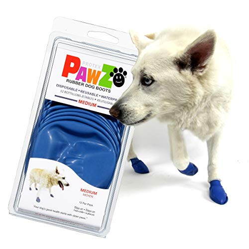 PawZ Dog Boots | Rubber Dog Booties | Waterproof Snow Boots for Dogs | Paw Protection for Dogs | 12 Dog Shoes per Pack (Medium, Blue)