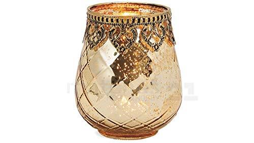 matches21Wind Luz té luz de cristal vela con motivos orientales Antiguo Dorado Cristal/Metal Vintage–3Tamaños a Elegir, vidrio, 10 Cm