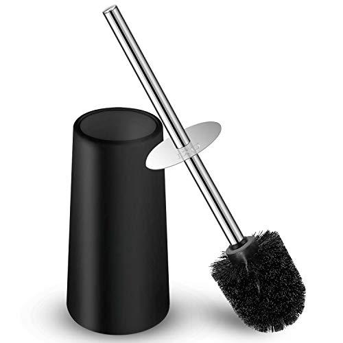 IXO Toilet Brush and Holder, Toilet Brush with 304 Stainless Steel Long Handle, Toilet Bowl Brush for Bathroom Toilet-Ergonomic, Elegant,Durable(Black)