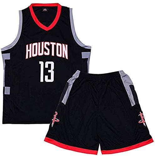 Nest Home Garçon Fille NBA Houston Rockets Basket Maillots # 13 Harden Basketball Jersey T-Shirt et Short Sportwear Ensemble pour Enfant Teenager (Noir, XXS(Hauteur 90-100CM))
