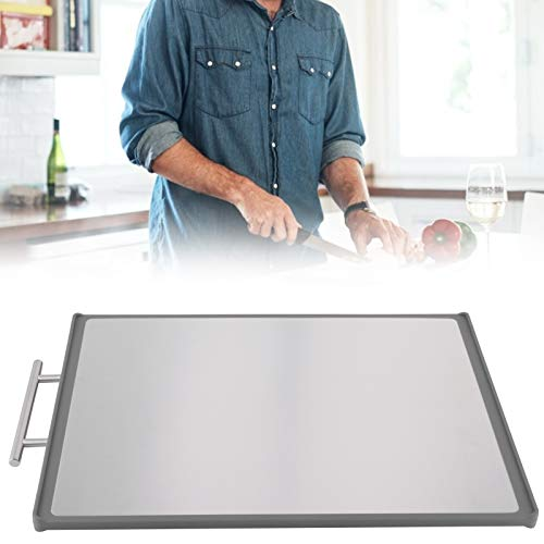 304 Stainless Steel Non‑slip Cutting Board Double Sided PP Chopping Board for Home Kitchen(grey)