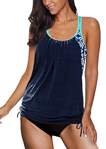 REKITA Womens Swimsuits Floral Printed Tankini Top with Bikini Bottom Swimwear