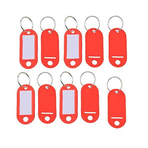 10Pcs Fester Kunststoff Coded Schlüssel-ID-Aufkleber Schlagwörter Split-Ring-Schlüsselanhänger Schlagwörter mit Fenstern Label-Ring-Halter