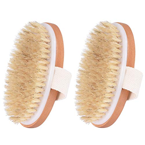 vivioi Brushing Body Brush Natural Bristle Dry Skin Exfoliating Brush Body Scrub Remove Wooden Handle for Flawless Skin Improves Lymphatic Functions, Dead Skin,Stimulates Blood Circulation