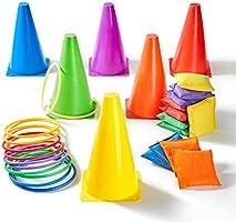Paochocky 30 st 3-i-1 rolig aktivitet spelset – sex färger kastande ring kastning och bönpåsar till mjuka koner...
