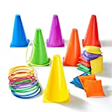 Paochocky 30 Pcs 3 in 1 Funny Activity Game Set - Six colors Throwing Ring toss and Bean Bags to Soft Cones Family Games, Indoor Outdoor Activity Birthday Party Supplies with Wonderful Gift Box