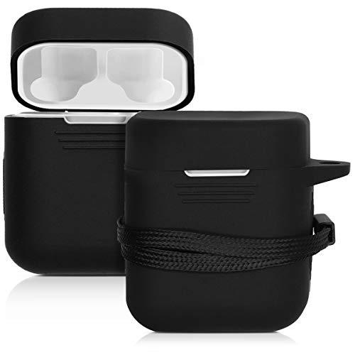 kwmobile Custodia compatibile con Xiaomi AirDots Pro - Protezione porta auricolari in silicone TPU con cordino e apertura ricarica nero