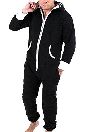 Juicy Trendz pour des Hommes Plaine Combinaison Une Pièce Tout en Un Jumpsuit, Noir, XL