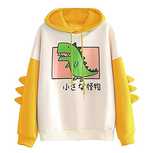 Cute Hoodies for Women Dinosaur Kawaii Long Sleeve Splice Sweatshirt Casual Cartoon Autumn Patchwork Drawstring Pullover