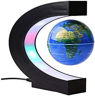 كرة عليها خريطة العالم تطفو بالارتقاء المغناطيسي مع قاعدة على شكل C، مصباح انارة ليد مضاد للجاذبية على شكل كرة ارضية دوارة...