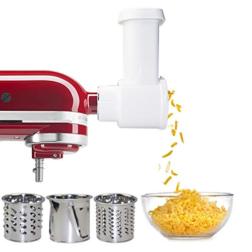 Stainless Steel Slicer Shredder Attachment for KitchenAid Stand Mixer, Electric Cheese Grater Attachment,with 3 Blades, Cheese Grater,Vegetable Slicer,Salad Shooter,Accessories for Kitchenaid