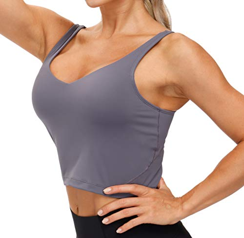 Women's Longline Sports Bra Wirefree Padded Medium Support Yoga Bras Gym Running Workout Tank Tops (Vintage Purple, Small)