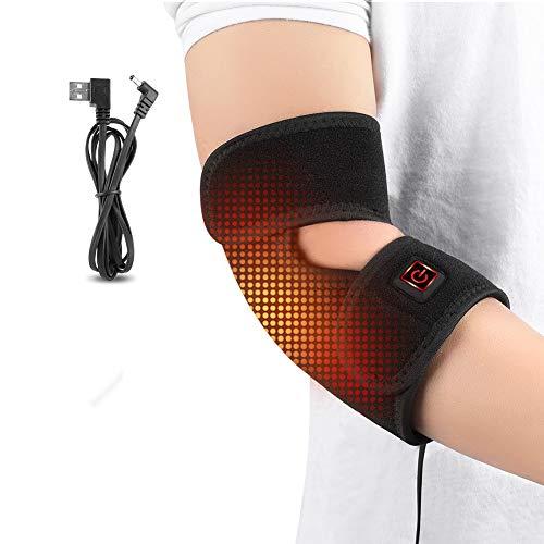 Haofy Ellenbogenbandage Heizung, Ellbogen Bandage Tennisarm Ellenbogenschutz Neopren Ellbogenschützer mit USB-Ladekabel für Damen Herren, Ideal für Ellenbogengelenk, Arthritis, Sehnenscheidenschmerzen