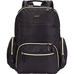 fine finishes: stylish, sleek silky nylon exterior with gold plated zippers. Interior compartments are fully lined with a printed tear-resistant polyester lining to stand up to daily use. Rear compartment is fully padded to hold and protect your lapt...
