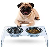 N-B Pet Feeder Plexiglass Cat Dog Bowl Feeding Rack Pet Food Utensils Bracket