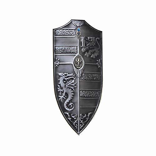 KCCCC Escudo Medieval 31x70cm Hecho a Mano Placa de la Pared Escudo Medieval Escultura de la Pared de la decoracin para Nios Disfraz de Caballero (Color : Silver, Tamao : 31x70cm)