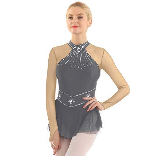 inhzoy Vestido de Danza Ballet Lentejuelas para Mujer Manga Larga Maillot de Patinaje Artístico con Falda Malla Leotardo de Gimnasia Rítmica Traje Bailarina Gris Small
