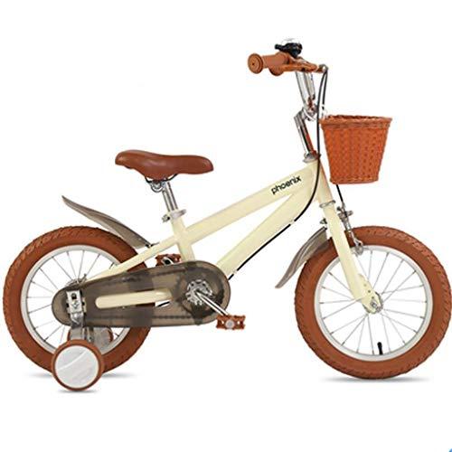 LDDLDG Bicicleta infantil de 35,56 cm, 40,64 cm, 45,72 cm, para niños de 2 a 11 años, de 32 a 47 pulgadas, con ruedas de entrenamiento y posavasos (color: amarillo, tamaño: 40,64 cm)