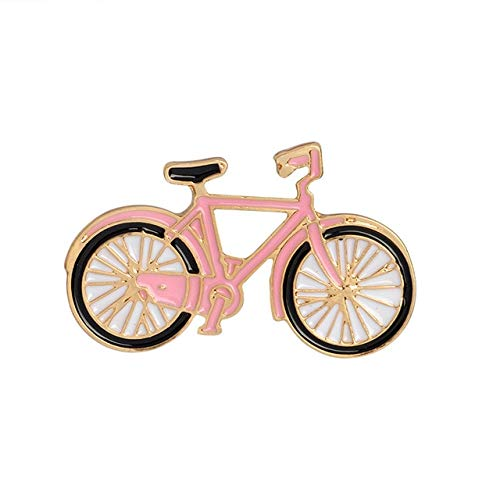 Fashion Rainbow Enamel Lapel Cartoon Pins Fruits Food Mix Brooches Backpack Cute Pins Gifts For Friends-Pink Bike