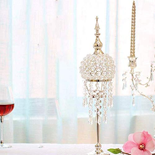 Modern Decorative Candlestick Holder, Crystal Candle Holders Pure handmade Crystal Beads with Stable Metal Base Easy to Use (Size : 53cm)