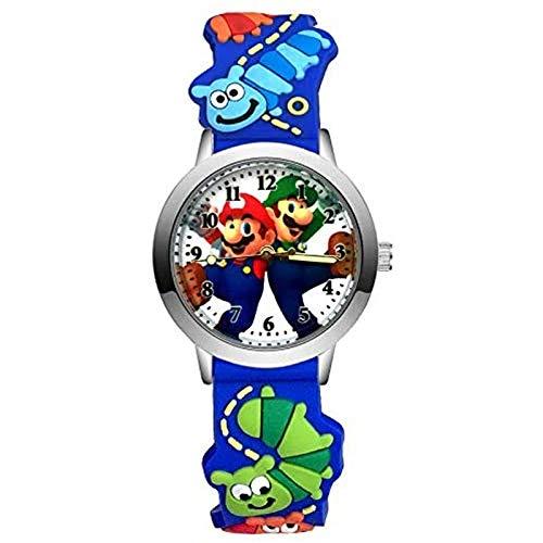 buyaoku Reloj de Super Mario de Moda de Dibujos Animados Lindo Hermoso Reloj de Estilo Mario Reloj de Pulsera de Silicona 3D de Cuarzo para Estudiantes