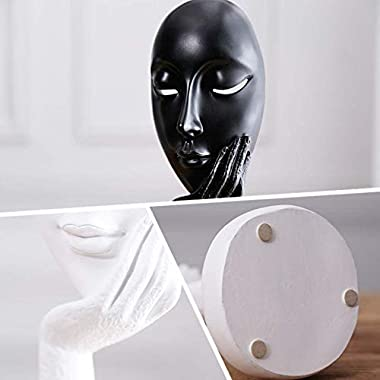 Modern and Simple Woman Figure Figurine,Face Statues & Hand Sculptures Home Decor (Black-Large)