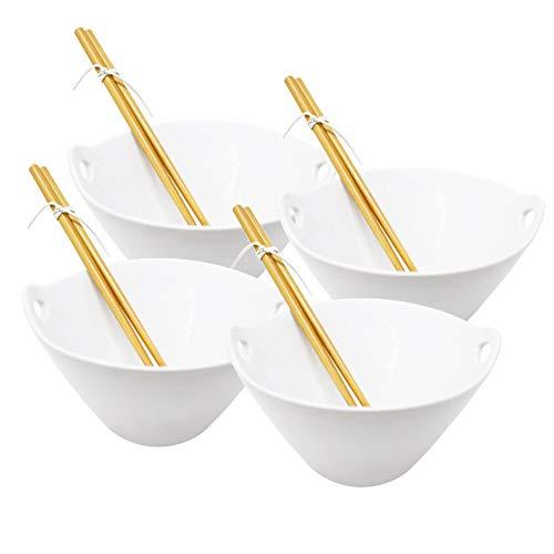 ToCi Bowl-Schüssel Set (4 Stück) für asiatische Suppen, Nudeln, oder Reisgerichte mit wiederverwendbaren Essstäbchen - Mikrowellen- und Spülmaschinengeeignet