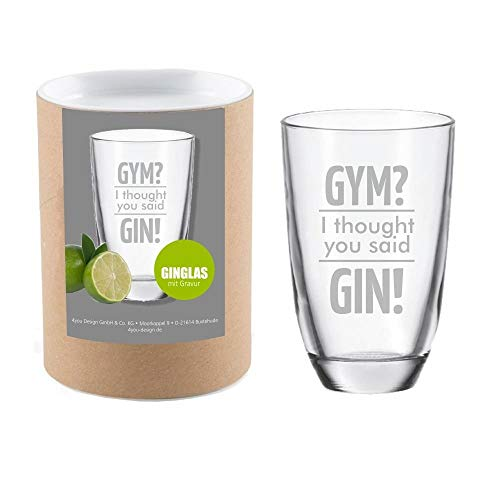 4you Design Gin-Glas Gym? I Thought You Said Gin! mit Geschenkbox - witzige Geschenkidee - Gin-Tonic - Gin-Liebhaber (Gym? I Thought You Said Gin!)