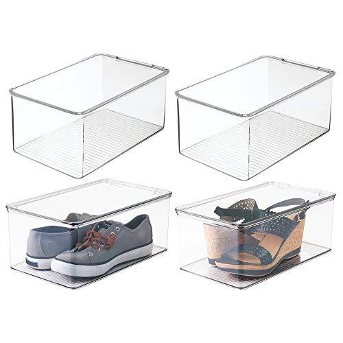 mDesign organizador de zapatos - Organizador plástico apilable con tapa en color transparente - Set de 4 cajas