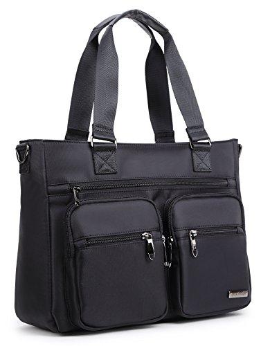Crest Design Water Repellent Nylon Shoulder Bag Handbag Tablet Laptop Tote as Travel Work and School Bag. Functional Clinical Bag to Carry Medical, Nursing Supplies (Black)