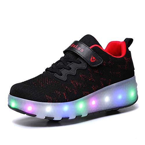 Aupast Zapatos con Ruedas Zapatos con Ruedas para niños y niñas Patines con Ruedas para niños Zapatos con Ruedas con luz LED para niños Superficie de Malla cómoda, Negro, 43