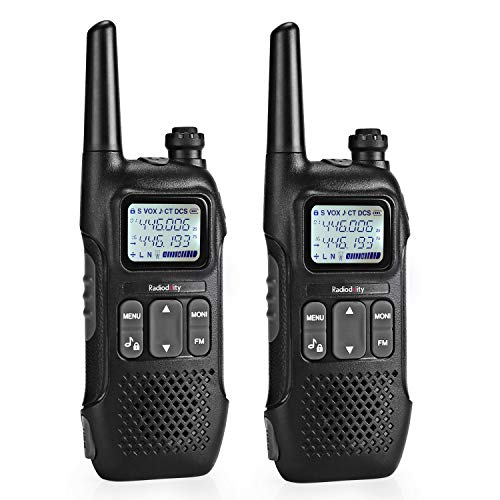 Radioddity PR-T1 PMR Funkgerät Set mit LC-Display, Walkie Talkie 4KM Reichweite, 16 Kanäle PMR446 Lizenzfrei Wiederaufladbar mit USB Ladekabel (2 Stücke)