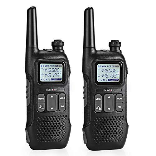 Radioddity PR-T1 Ricetrasmittente PMR 446 Walkie Talkie uso senza licenza 16 canali con display, ricarica USB, 2 unità.