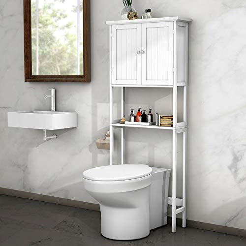 BestComfort Over-The-Toilet Space Saver, Bathroom Cabinet Organizer Over Toilet,Storage Cabinet with Adjustable Shelf for Bathroom