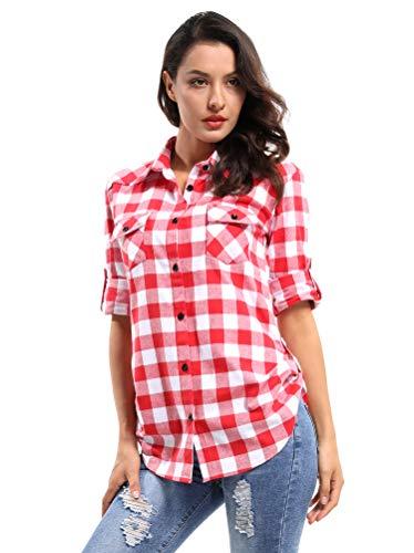 OCHENTA Women's Long Sleeve Button Down Plaid Flannel Shirt M042 Red White L